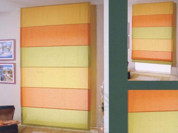 tenda a pacchetto steccato giallo, verde mela e arancio