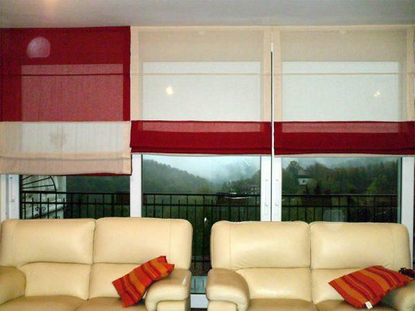 tenda a pacchetto steccato bicolore bianco e rosso