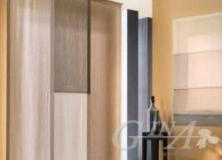 Tenda a pannelli semplici e bicolore in misto lino