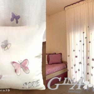 tenda per camerette disegno farfalle
